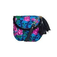 Betsey Johnson Mini Crossbody Handbag Purse Skulls In Bloom Blue Multi,$49.00
