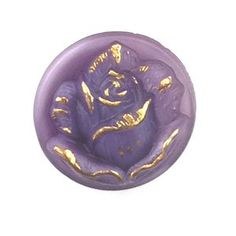 These buttons are hand pressed glass Czech Glass Button Rose Lavender 18mm 1 Piece