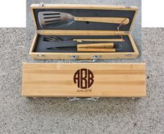 SHIPS FAST Monogram Fathers Day Grill Set by FrederickEngraving
