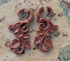 Fake gauge earrings Wood Organic Tribal Expander by ANELAJADE