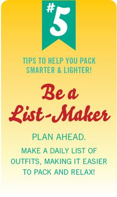 #PinUpLive Packing Tip No. 5 - Be a List-Maker