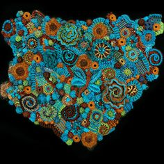 Freeform Crochet by Bonnie Pierce, elegantcrochet.com.  This is just amazing to me!  The Freeform artists collect the colors and textures they want to work with and then let their imaginations take over their hooks.  Creativity personified!