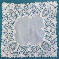 Antique Vintage Brussels Duchesse and Pointe de Gaze Lace Handkerchief | eBay