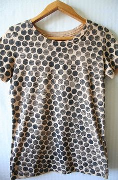 Black Beige Polka Dot Spot T Shirt