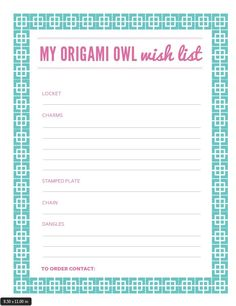 What's your Mother's Day Origami Owl® Wish List? Print this out and have your… Origami Owl Lockets, Origami Owl Jewelry, Owl Party Games, Origami Owl Parties, Origami Owl Business, Oragami, List, American Flag, Designer