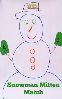 An alphabet activity with a snowman theme for this week's #playfulpreschool ideas for snowmen!