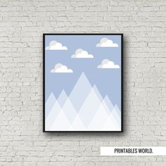 Blue mountains and clouds Printable Poster by PrintablesWorld Modern Artwork, Blue Mountain, Nursery Decor, Typography, Printables, Clouds, Mountains, Handmade Gifts, Frame
