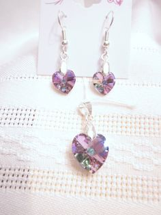 Simply Elegant - Swarovski Crystal Heart Pendant and Earring Set in Light Vitrail, Perfect for a Wedding, Bridesmaid, Valentines, Birthdays.