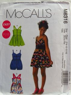 889d4e96dbd7 McCall s 6316 Girls  Girls  Plus Dresses and Rompers. Sewing Patterns ...
