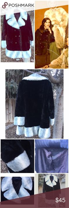 🌵NEW🌵 1970s Vintage Black Fax-Fur Pea Coat How AMAZING?! 💕 And so 1970s! This is all fax-fur. Huge oversized collar with white and dark grey fur. Cuffs on sleeves also have white and grey fur and is also along the bottom rim of coat. 4 button pea-coat style. This is amazing on! Super chic! This does have some slight damage but nothing big. Has tear on the inner lining of coat and the right pocket has a hole on the inner lining ( All shown in pics) This has been cleaned. Doesn't have a…