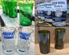 Gestaltet euch eure eigenen Gläser aus leeren Glasflaschen. Einfach einen Wollfaden in Spiritus tränken, um die Flasche wickeln, eine Minute brennen lassen und in kaltes Wasser halten. Genau dort wo der Faden war ist die Flasche gebrochen. Danach die Kante mit Schleifpapier rund schleifen damit ihr euch nicht schneidet. Fertig:)