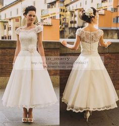 Wholesale Tea Length Vintage Lace Plus Size Wedding Dresses 2016 A Line Scoop Cap Sleeves Arabic Country Rustic Wedding Gowns Bridal Dresses Flowers, Free shipping, $165.14/Piece | DHgate Mobile