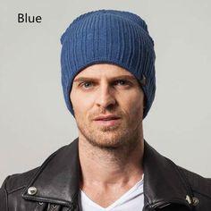 Winter plain knit beanie hats for men British style