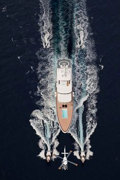 Superyacht with helicopter pad