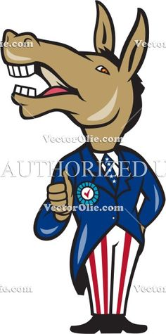 Democrat Donkey Mascot Thumbs Up Cartoon Cartoon Stock Illustration. Illustration of a democrat donkey mascot of the democratic grand old party gop showing thumbs up looking to the side wearing american stars and stripes suit done in cartoon style on isolated white background. #illustration #DemocratDonkey