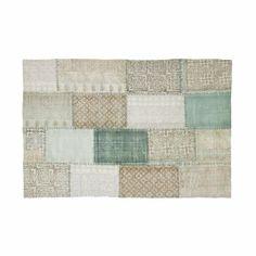 Aqua Stonewash Patch-Work Dhurrie with Block Prints: Aqua Stonewash Patch-Work Dhurrie with Block Prints
