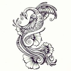 Amazing Simple Peacock Design Tattoo Stencil