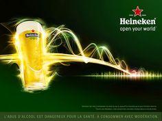 Pub Heineken : Open your world Saga, Food Shopping List, Beer Bottle, Advertising, World, Product Poster, 3d Design, Freckles, Noodle