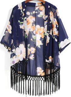 Kimono pampilles décontracté floral -bleu  13.58