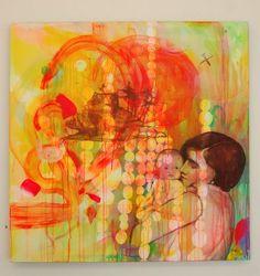 Av kunstneren Gro Mukta Holter. Jeg elsker kunsten hennes. Den er så full av liv. Dette bildet treffer meg spesielt på grunn av mor/barn motivet.