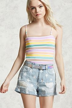 Striped Cropped Cami   Forever 21
