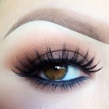 Neutral colors like taupe, peaches and even browns are all great colors that go fantastic with brown eyes, and you can just go with eyeliner in these color