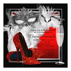 Womans Red and Black Masquerade Birthday Party Card