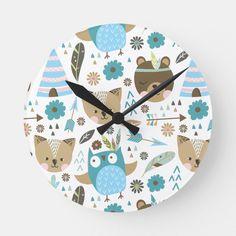 Shop Acrylic Wall Clock created by CURVE_DESIGNS. Baby Boy Nursery Decor, Baby Boy Nurseries, Curve Design, Room Decor, Wall Decor, Woodland Creatures, Wedding Color Schemes, Hand Coloring, Kids Room