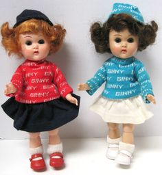 Two 1950s Vintage BKW Vogue Ginny Dolls & Signature Sweater Outfits HTF Colors