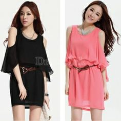 Korea Women's Flouncing Batwing Sleeve Loose False Two-piece Chiffon Dress