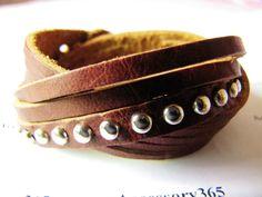 Punk Rock Style Soft Leather Rivet Wristband Cuff bracelet Women or Men Bracelet  by accessory365, $9.00