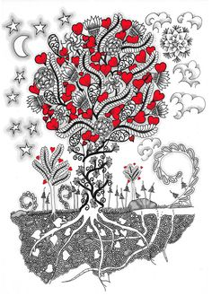 Valentine Hearts Instant Download COLORING PAGE Zentangle Illustration Tree of Love,Download, Pick Your Colors and Make Your Own Artwork