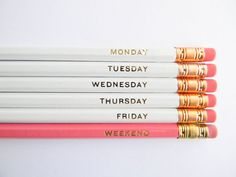 Hello Weekend Pencils  White Pink & Gold Set by AmandaCatherineDes, $12.00