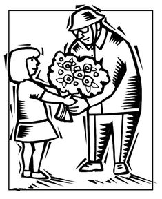 A Little Girl Handling Flower To Veteran Celebrating Veterans Day Coloring Page : Color Luna Veterans Day Coloring Page, Online Coloring, Free Printable Coloring Pages, Coloring Pages For Kids, Little Girls, Body Parts, Celebrities, Image, Flower