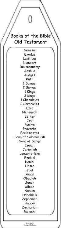 Old Testament Books of the Bible bookmark coloring pages