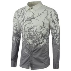 Tree Branch Printed Long Sleeve Shirt