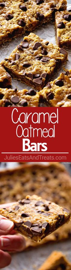 Caramel Oatmeal Bars ~ These Oatmeal Bars Have a Delicious, Ooey, Gooey Layer of Caramel and Sweet Chocolate Chips! Quick, Easy Dessert for Anyone! via (Chocolate Desserts Quick) Easy Chocolate Fudge Cake, Chocolate Treats, Chocolate Chips, Chocolate Squares, Cake Bars, Dessert Bars, Fudge Recipes, Baking Recipes, Cookie Recipes