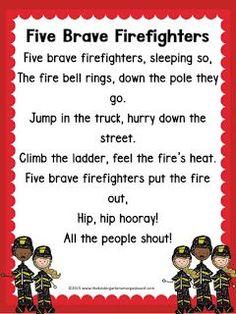 Five Brave Firefighters poem!  Firefighter poem!  Fire safety poem!