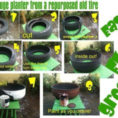 Old tires revived - Finally, an old tire planter that doesn't look like a shitty old tire with plants in it.