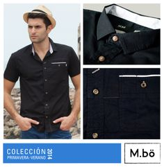 Una camisa para lucir interesante este verano. Camisa negra manga corta solido con cuello chico Cod. OMCC0028. #Mbolifestyle #shirt #blackshirt
