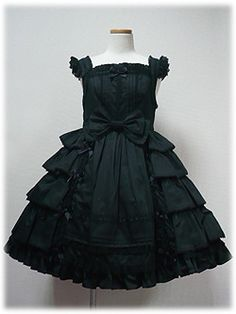 Angelic Pretty: Sweet Frill JSK in Black - Lolita fashion