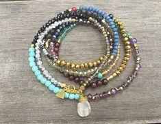 Mix Gemstone Crystal Wrap Bracelet Necklace Or Anklet