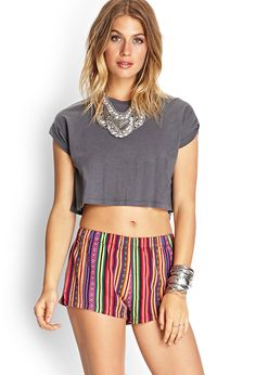 Baja Striped Shorts - Skirts - 2000085557 - Forever 21 UK