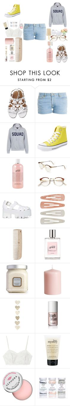"""""""riley"""" by shakiadinkins-1 on Polyvore featuring beauty, Paul & Joe, Topshop, Converse, philosophy, RetroSuperFuture, Jeffrey Campbell, Forever 21, HAY and Laura Mercier"""