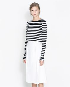 STRIPED CROP T-SHIRT- ZARA