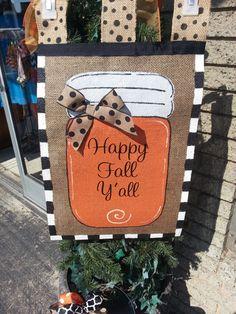Burlap Garden Flag Fall Orange Mason Jar by SayItWithSassRoxboro