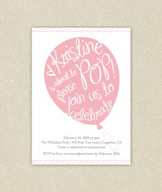 Baby Boy or Girl Custom Baby Shower Invitations Printable - Balloon Pop. $15.00, via Etsy.