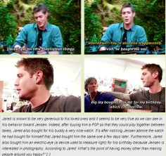 [GIFSET] Jensen talks about Jared's generosity -- A Day In The Life Of Jensen And Jared (I love these two so much.)