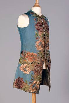 Embroidered waistcoat, English, 1740s, KSUM 1983.1.13.