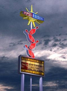 3d model of vintage neon bowling sign - Vintage Bowling Sign by joshuab_1970
